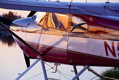 Cessna Photograph - Cessna 180 At Sunset by Tim Grams