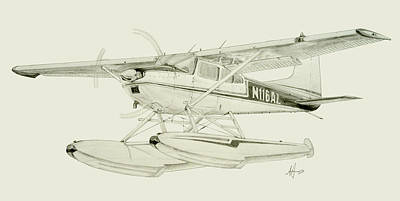180 Wall Art - Drawing - Cessna 180h On Floats by Nicholas Linehan