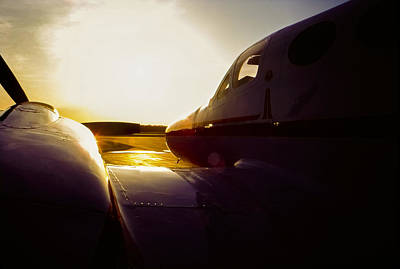 Photograph - Cessna 421c Golden Eagle IIi Silhouette by Greg Reed