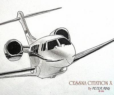 Aircraft Wall Art - Painting - Cessna Citation 750x N200ap by Peter Ring Sr