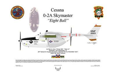 Digital Art - Cessna O-2a Skymaster Lt Curs by Arthur Eggers