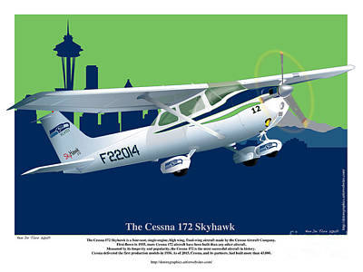 Drawing - Cessna Skyhawk 172 by Kenneth De Tore