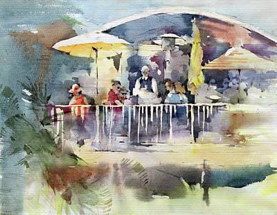 Cafe Painting - C'est La Vie Restaurant - Laguna Beach - California by Natalia Eremeyeva Duarte