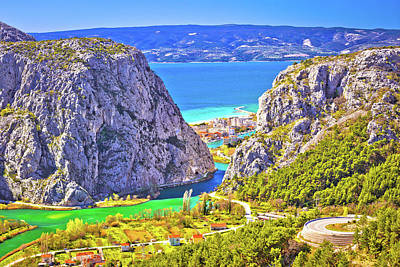 Photograph - Cetina River Canyon And Mouth In Omis View From Above by Brch Photography