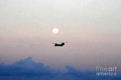 Sea Moon Full Moon Painting - Ch-46 Sea Knight Helicopter by Celestial Images