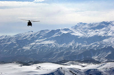 Afghanistan Painting - Ch-47 Chinook Helicopter In Afghanistan by Celestial Images