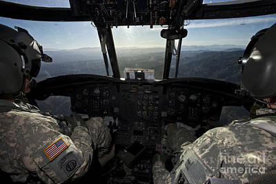 Cockpit Photograph - Ch-47 Chinook Pilots In Flight by Terry Moore