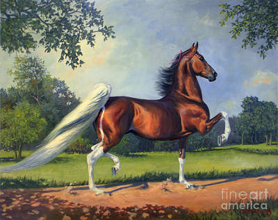 Show Horse Painting - Ch. Racing Stripe by Jeanne Newton Schoborg