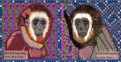 Painting - Cha Cha And Ba Ba Monkey From The City By Navinjoshi At Fineartamerica  by Navin Joshi