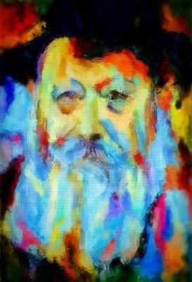 Painting - Chabad Lubavitch Rebbe Colorful Bright Acrylic Painting Menachem Schneerson Rabbi Crown Heights Rainbow by MendyZ