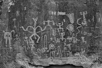 Photograph - Chaco Canyon Petroglyphs Black And White by Adam Jewell