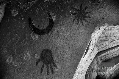 Photograph - Chaco Supernova Petroglyph Black And White by Adam Jewell