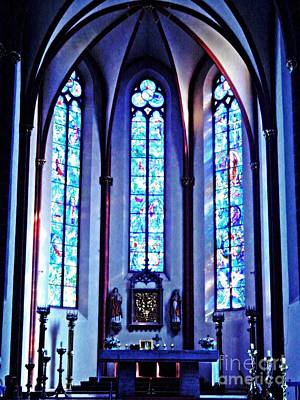 Photograph - Chagall Windows In St Stephen's Church 1   by Sarah Loft
