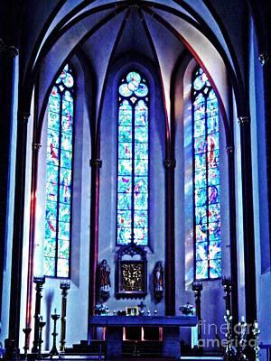 Photograph - Chagall Windows In St Stephen's Church 1   by Sarah Loft