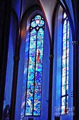 Photograph - Chagall Windows In St Stephen's Church 2 by Sarah Loft