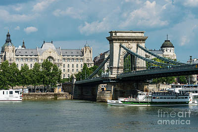 Budapest Hungary Hotels Photograph - Chain Bridge And Gresham Palace by Bob Phillips