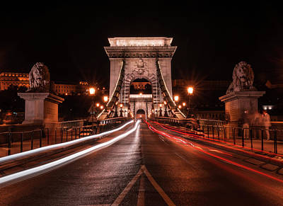 Art Print featuring the photograph Chain Bridge At Midnight by Jaroslaw Blaminsky