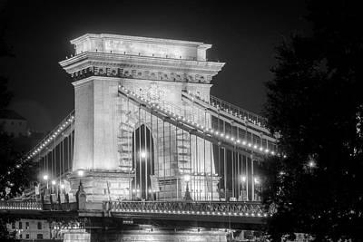 Budapest Hungary Photograph - Chain Bridge Tower Night Bw by Joan Carroll