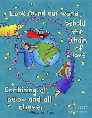 Planets Drawing - Chain Of Love by Sarah Batalka