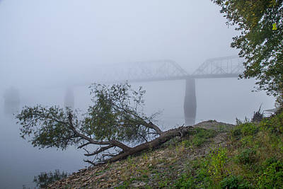 Photograph - Chain Of Rocks Bridge In The Fog by Garry McMichael