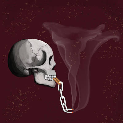 Digital Art - Chain Smoker Skull  by Keshava Shukla