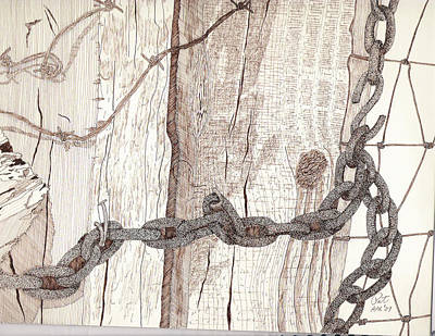 Sepia Ink Drawing - Chained Closed by Pat Price