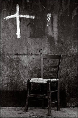 Chair And Cross Chania Crete Art Print by Werner Hammerstingl