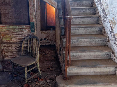 Photograph - Chair And Stairs by Tom Singleton
