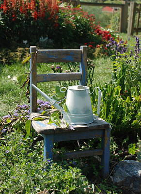 Chair And Watering Can Art Print by William Thomas