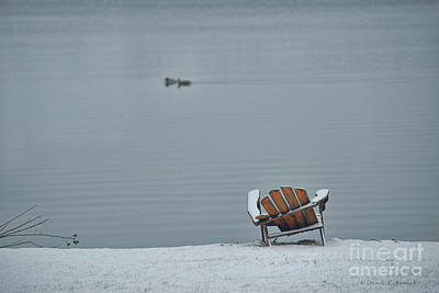 Photograph - Chair At Lake In Winter by David Arment