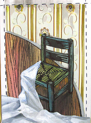 Lino Painting - Chair Iv by Peter Allan