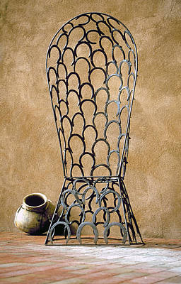Water Droplets Sharon Johnstone - Chair Made Of Horse Shoes, Taos by Buddy Mays