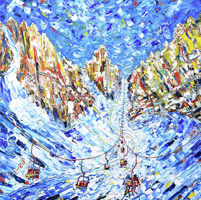 Ski Painting - Chair To The Mountains Cortina by Pete Caswell