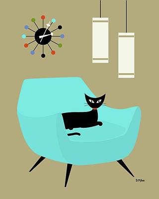 Digital Art - Chair With Ball Clock by Donna Mibus