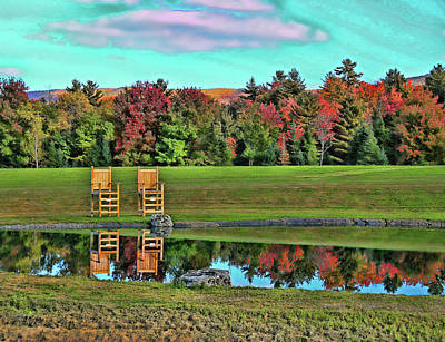 Photograph - Chairs And Pond by Allen Beatty