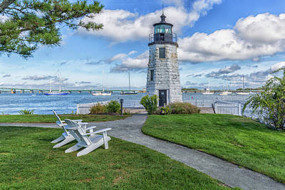 Photograph - Chairs At Newport Harbor Lighthouse by Brian MacLean