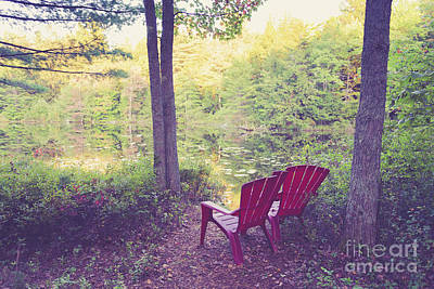 Photograph - Chairs Beside A Forest Pond by Edward Fielding