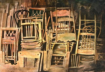 Spindles Painting - Chairs by Frank SantAgata
