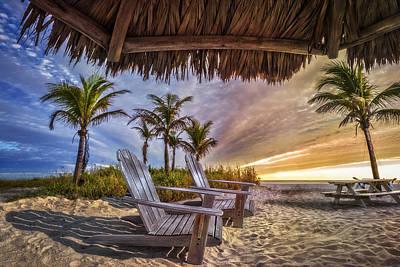 Chairs On The Beach Art Print by Debra and Dave Vanderlaan
