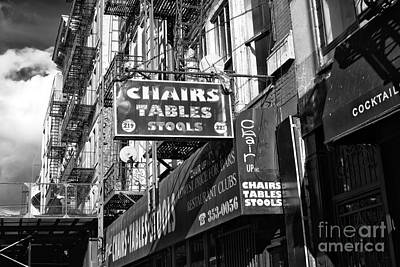 Nyc Fire Escapes Photograph - Chairs Tables Stools by John Rizzuto