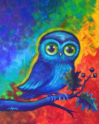 Painting - Chakra Abstract With Owl by Agata Lindquist