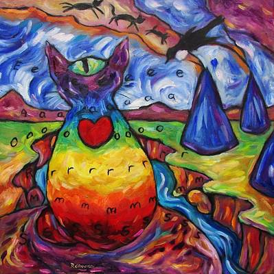 Painting - Chakra Cat At Blue Tent Canyon by Dianne  Connolly