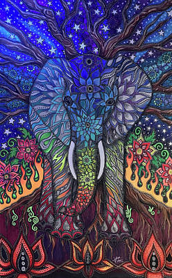 Drawing - Chakra Elephant by Julie Oakes