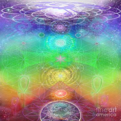 Chakra Rainbow Digital Art - Chakra Activation Geometry Template by Jahsah Ananda