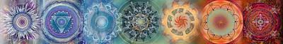 Radiating Chakra Drawing - Chakras Horizontal by Brenda Erickson