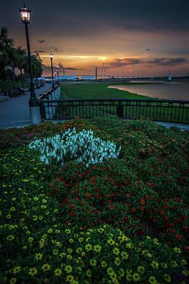 Photograph - Chaleston South Carolina Park Waterfront At Sunset by Alex Grichenko