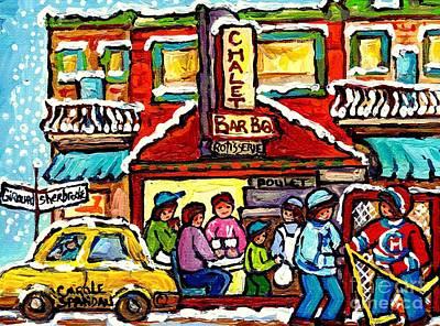 Painting - Chalet Bbq Montreal Snowy Winter Street Scene Street Hockey Art Canadian Artist Carole Spandau by Carole Spandau