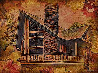 Art Print featuring the digital art Chalet In Autumn by Kathy Kelly