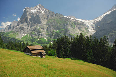 Chalet In Mountain Pasture With Mount Art Print by Anne Keiser