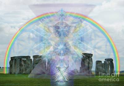 Digital Art - Chalice Over Stonehenge In Flower Of Life by Christopher Pringer